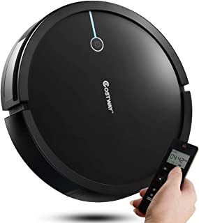 COSTWAY Robot Vacuum Cleaner, 2000Pa Suction Cleaner Smart Schedule Cleaning, Remote Control, Super Quiet Self-Charging Robotic Vacuums for Pet Hair, Hard Floor & Thin Carpet