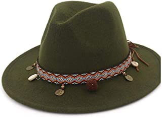 Fashion Sun Hat for Fashion Wool Women Fedora Hat Belt with Wide Brim Ornaments Fedora Hat Outdoor Casual Hat Top Jazz Hat Suitable for hot Weather Season (Color : Green, Size : 56-58CM)