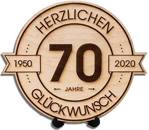 DARO Design - Holzscheibe graviert - 70 Jahre - Größe 20cm- Geschenk zum Jubiläum, 70 Geburtstag, Jahrestag - Herzlichen Glückwunsch