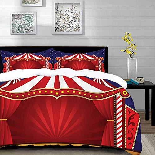 Bedding Juego de Funda de Edredón,Microfibra -Red Circus by, Canvas Tent Circus Stage Performing Chistes de teatro - Funda de Nórdico y Fundas de Almohada - (Cama 220 x 240cm + Almohada 63X63c
