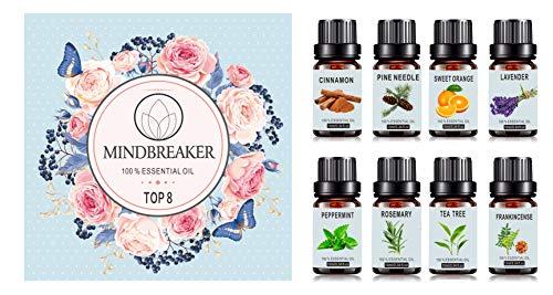 Set organische etherische oliën voor aromatherapie - TOP8 Alle olieverspreiders, wierook, lavendel, theeboom, zoete sinaasappel, pepermunt, kaneel, dennennaald, rozemarijn voor thuis, op kantoor, slaap, yoga (TOP-8)