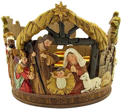 La Sagrada Familia en Belén estable, Advent candelabro de resina 51/10,2cm