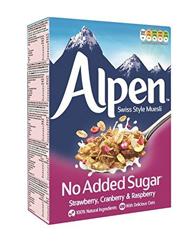 Weetabix Alpen Müsli ohne Zuckerzusatz Strawberry, Cranberry & Raspberry, 6 Packungen (Erdbeere)