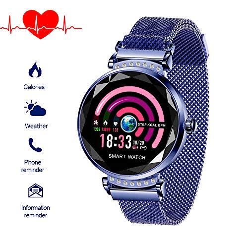 Fitnessuhr mit Blutdruckmessung FüR Damen Intelligente Uhr Wasserdicht Pulsuhren Fitness Tracker Smartwatch Bluetooth,1.04Zoll Touchscreen,Elegant,Gut Bedienbare,TäGlichen Leben (Blau)