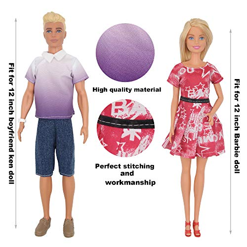 ZTWEDEN 42Pcs Doll Clothes and Swimming Accessories for Ken Dolls and Barbie Dolls Includes Bikini Swim Suit Swim Trunks Skateboard Lifebuoys Boat Diving Swimming Sets for Barbie Ken Doll Beach Style