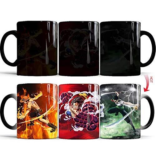 One Piece Kaffeetasse Trinkbecher Monkey D Ruffy Tasse Tasse Porträt von Piraten Farbwechsel Wasserflasche Keramik Heiß Hitzeempfindliche Magie Tasse 400ML