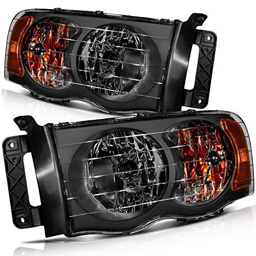 CCIYU Headlights Assembly 55077120AF 55077120AG 55077121AF 55077121AG Black Housing Amber Reflector Clear Lens Headlamps For Dodge Ram 1500 2002-2005 For Dodge Ram 2500 2003-2005