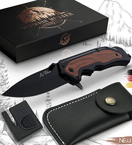 Le Flair® Outdoor Messer - Einhandmesser Taschenmesser mit 8,5cm Edelstahl Titanklinge - Survivalmesser mit Korrosionsschutz - Bushcraft Messer inkl. Messerschärfer und Magnetbox - Klappmesser