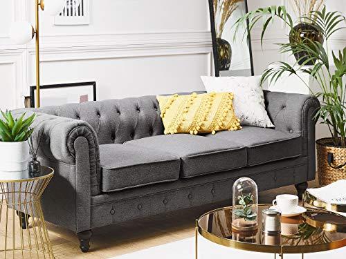 Beliani Klassisches Sofa im englischen Stil Polsterbezug grau Chesterfield