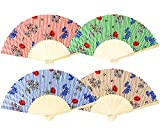 Selldorado 4 abanicos de madera de bambú con diseño de flores, abanicos de tela estilo vintage para hombre y mujer