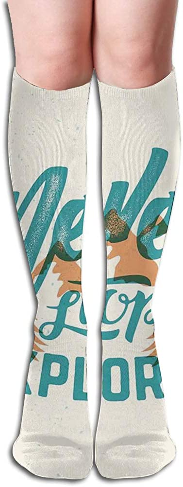 Men's and Women's Funny Casual Combed Cotton Socks,Hand Lettering Quote on Traveling with Mountain and Forest Silhouette