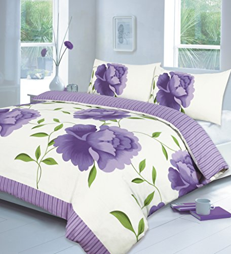 LONDON.BEDDING @ ROSALEEN DESIGN PRINTED Lilac_ Teal_Black_LILAC_Fuchsia_Chocolate_ Yellow_White DUVET QUILT COVER SET WITH PILLOW CASES (King, Lilac)