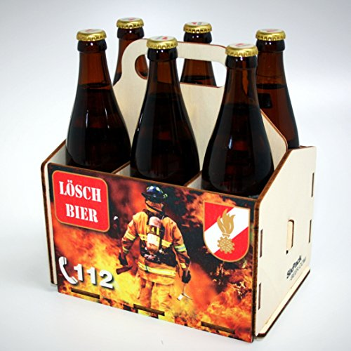 Bierträger aus Holz - SixPack - Fischen - Geschenke für Männer - Grillen - Jagen (Löschbier)