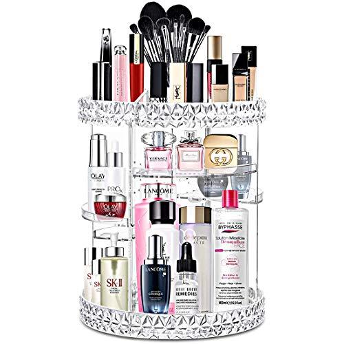 SUMLINK Make-up-Organizer, 360 Grad drehbar, Verstellbarer Kosmetik-Ständer, 6 Schichten Make-up-Aufbewahrungsbox, passend für Lippenstifte, Make-up-Pinsel, Parfüm und mehr, kristallklar