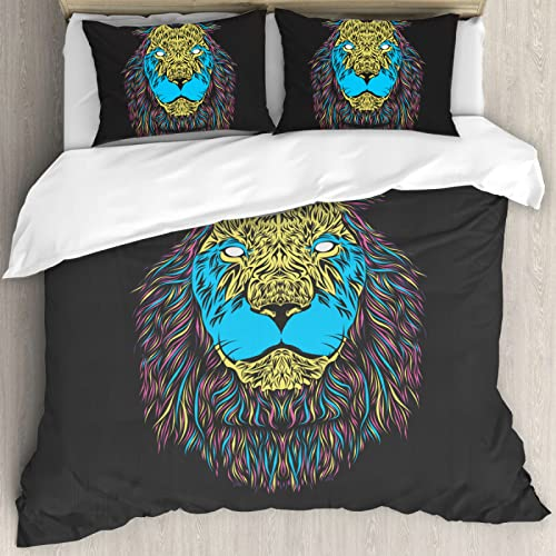 ZKDT Juego de ropa de cama de 135 x 200 cm, con 2 fundas de almohada, diseño de león y tigre, con cremallera
