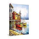 Startonight Cuadro Moderno en Lienzo - Puerto Viejo en Grecia - Pintura Paisaje para Salon Decoración 60 x 90 cm