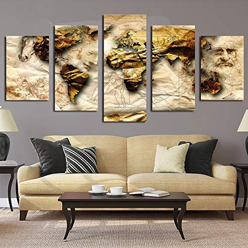 QZWXEC 5 Stks Canvas Print voor Schilderijen Abstracte Wereldkaart Posters Houten frame Kunstwerk Moderne Canvas Muur Art voor Home en Office Decor 150x80cm Met frame