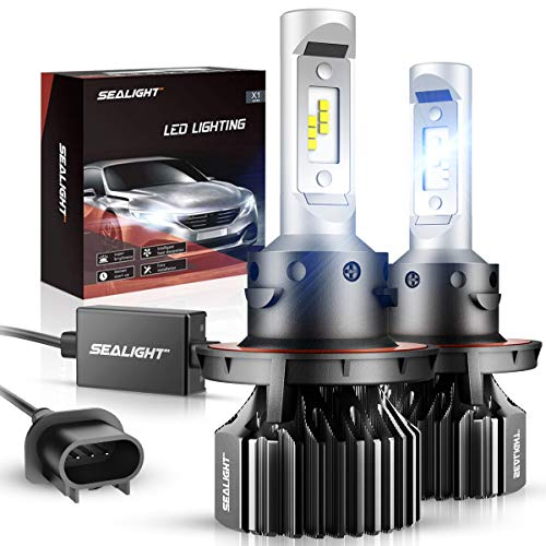 SEALIGHT H13/9008 LED Headlight Bulbs Dual High/Low Beam X1 Series Xenon White 6000K 6000LM