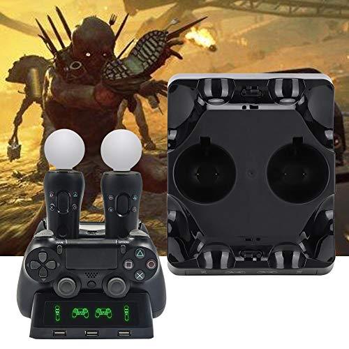 sjlerst Ladestation, multifunktionales Ladegerät für PS4/PS4 Move/PS4 VR Quattro Controller Ladestation, robust und langlebig, einfach zu tragen