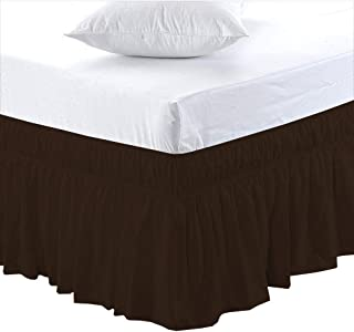 Black Friday & Cyber Monday Deals ! Ruffled Wrap Around Bed Skirt-24 Inches Drop Easy Fit Olympic Queen Size Chocolate Solid(Available for All Bed Sizes and Colors)