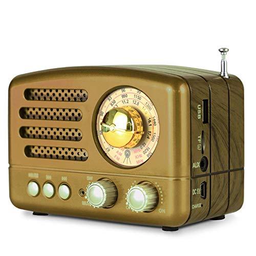 LLDKA Retro Radio Bluetooth Altavoz Baterías Radio portátil Transistor de Radio con la Mirada a Vintage Classic USB,Marrón