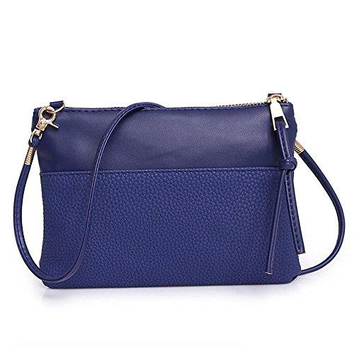 Kleine Crossbody Geldbörse für Frauen Handtasche Umhängetasche Vintage Abendtasche Partytasche Disco Old School Klassiker Damen Ledertasche Klein LANSKIRT (Blau)