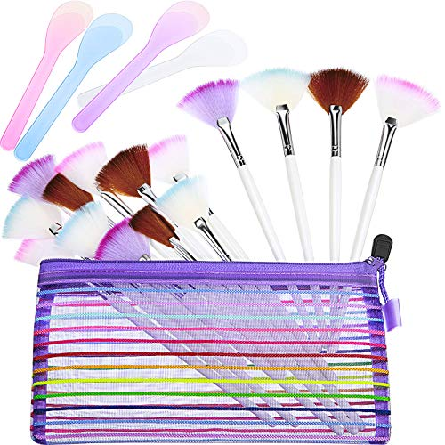16 Pieces Facial Fan Mask Brush and 4 Piece Cosmetic Mask Spoon Spatulas Mask Application Fan Brush Soft Glycolic Fan Brush Boar Head Fan Brush Applicator for Peel Mask Makeup