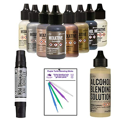 Ranger Tim Holtz Alcohol Ink Mixatives Bundle - All 8 Colors, Pearl, Copper, Silver, Gold, Snow Cap, Rose Gold, Gunmetal, Pitch Black, Blending Tools and Alcohol Solution