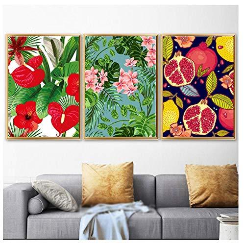 Bladeren Rode granaatappel Bloem Groene Plant Muur Kunst Print Canvas Schilderen Nordic Poster Decor Foto's voor Woonkamer-40X60Cmx3 Stks Frameless