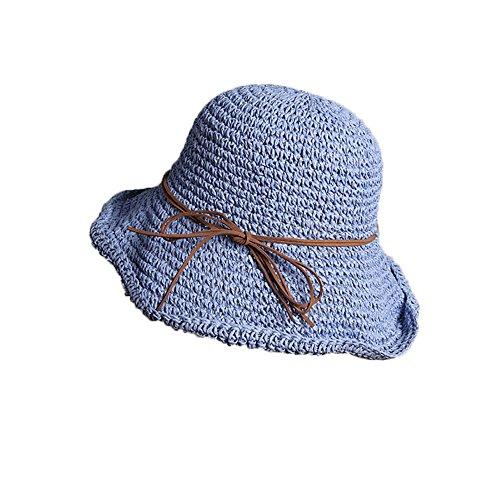 Demarkt Strohhut Faltbarer Sonnehut Schlapphut Strandhut Sommerhut Fischerhut Damen Hut Blau
