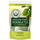 Kuli Kuli Energizing Herbal Moringa Tea, Lemongrass, 15 Count, Caffeine-Free Tea with Antioxidants, No Artificial Flavors or Ingredients, Light and Refreshing Tisane