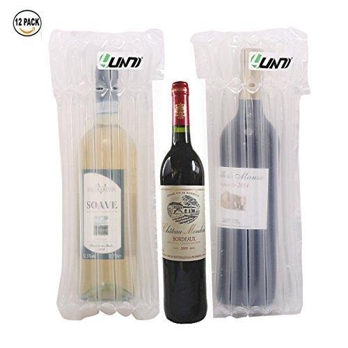 Wine Bottle Protector 12 Packs with Free Pump, Yuanj Reusable Inflatable Air Filled Protective Wine Wrap,Bottle Bubble Wrap for Safety Shipping, Airplane Travel