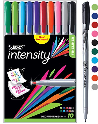 BIC Intensity Fineliner Marker Pen, Medium Point (1.0mm), Assorted Colors, 10-Count