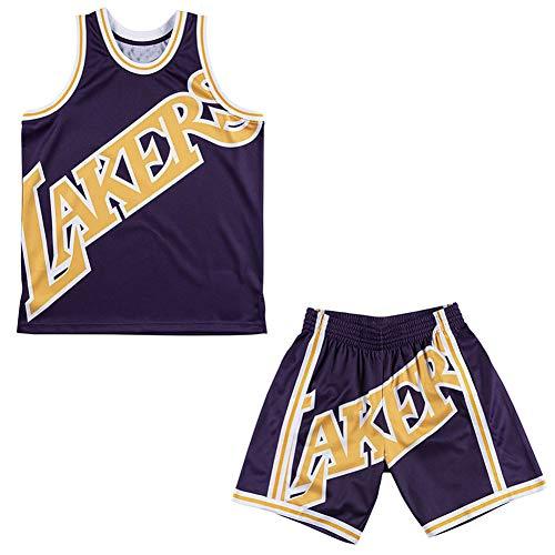 Conjunto de Jersey de Baloncesto Lakers Big Face Vintage para Hombre, Pantalones Cortos de Baloncesto, Malla Deportiva, Casual, Transpirable, Verano, Hip-Hop-Set-XL