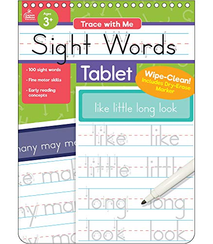 Trace with Me: Sight Words Tablet, Ages 3 –7, 32 Pages, Wipe-Clean Writing Practice with Dry-Erase Pen