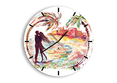 Horloge Murale - Ronde - Horloge en Verre - Pendule murales - 50x50cm - 2989 - Mécanisme d'écoulement - Silencieux - prete a Suspendre - Moderne - Décoration - Pret a accrocher - C3AR50x50-2989