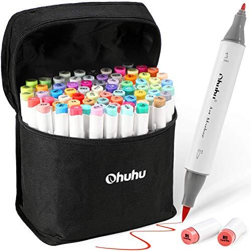 Ohuhu 筆先 マーカーペン 72色 筆タイプ 筆・細 ふでタイプ ブレンダーペン付き イラストマーカー 鮮やか 手帳 イラスト 色塗り 塗る絵 カード DIY 子供 大人