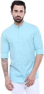 Dennis Lingo Men's Solid Chinese Collar Tblue Casual Shirt