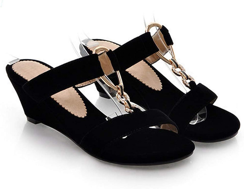 Eora-2sl Women Slides Summer Open Toe Slippers Flock Party Medium Heel Wedges Female Chains Comfortable