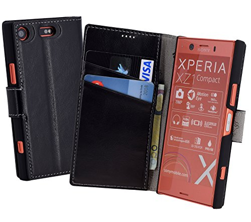 Suncase Book-Style für Sony Xperia XZ1 Compact (Slim-Fit) Ledertasche Leder Tasche Handytasche Schutzhülle Hülle Hülle (mit Standfunktion & Kartenfach) schwarz