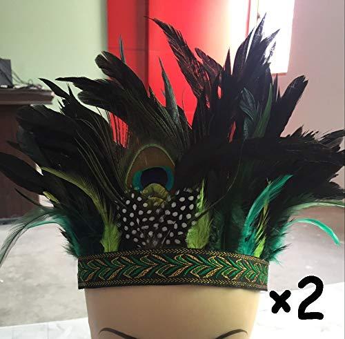 Bmakup 2 Stück Erntedankfest Stirnband Dekorationen Turban Feder Kopfschmuck Kopfbedeckung Indisch Hut Cosplay Requisiten Häuptling Savage Minderheit,E