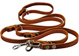 Tan 6-Way European Multifunctional Leather Dog Leash, Adjustable Schutzhund Lead 49