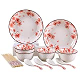 CHENSHJI 14 Pezzi in Stile Giapponese sottosmalto Piatti in Ceramica Set Regalo Articoli for la tavola delle Famiglie Piatto di Ceramica Rice Bowl Servizio da tavola in Porcellana