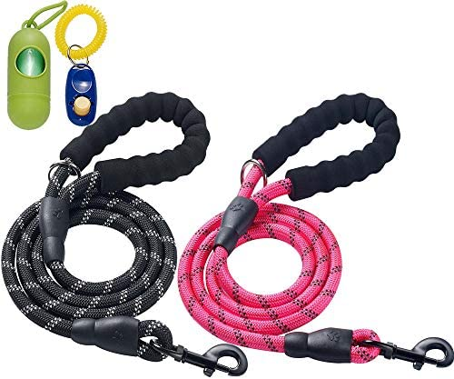 ladoogo 2 Pack 5 FT Heavy Duty Dog Leash with Comfortable Padded Handle Reflective Dog leashes product image