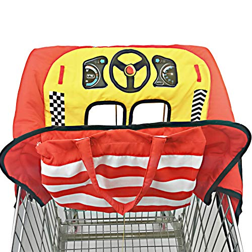 2-in-1 Shopping Cart and High Chair Cover for Baby with Portable Bag | Universal Fit Shopping Cart Seat & Restaurant Highchair | Fits Big Carts | 5 Point Safety Harness System (Red)