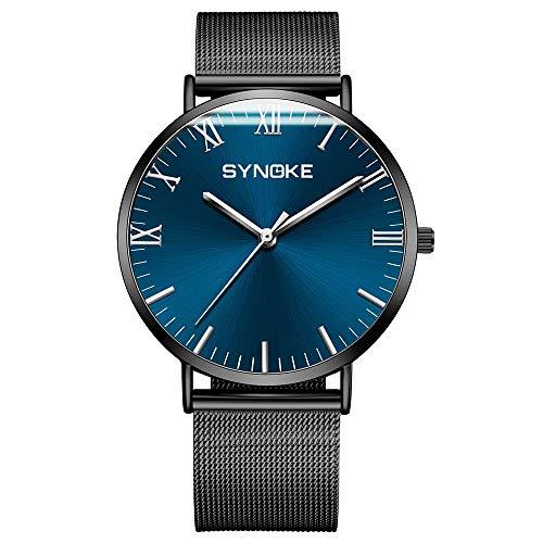 QZH Herrenuhr - Fashion Simple Edelstahl Mesh Belt Watch Herren Quarzuhr (blau)