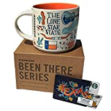 Starbucks Texas Coffee Mug with Limited Edition Texas Starbucks Gift Card Collectible No Value, Been There Series Across The Globe Collection White Orange Blue Ceramic Cup Gift Set, 14 FL OZ, 414 ML