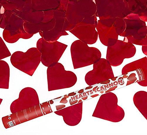 Kleenes Traumhandel 2 Stück - XL 60 cm - Herzregen mit roten Folien Herzen Konfetti Kanone Shooter Hochzeit Verlobung Konfettibome