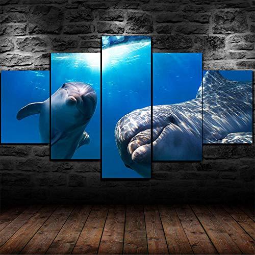 HFDSA Impresiones En Lienzo 5 Piezas Mar Submarino De Delfines Poster HD En Lienzo Modular Modern Interior Decorations Wall Art-Tamaño Regalo 150 * 80Cm.