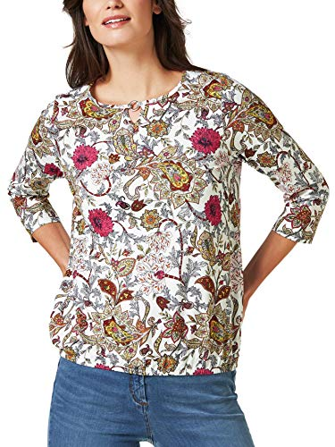 Walbusch Damen Blouson Shirt Blumen Paisley Gemustert Fuchsia/Rose 38